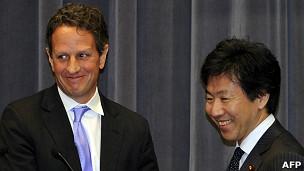 Jun Azumi , bộ trưởng tài chính Nhật Bản, và bộ trưởng tài chính Mỹ