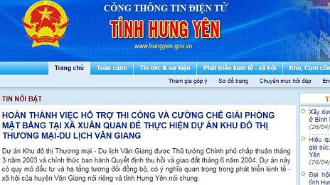 Tin từ trang web của tỉnh Hưng Yên