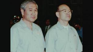 Hai cựu tổng thống Roo Tae Woo và Chun Doo Hwan trước tòa