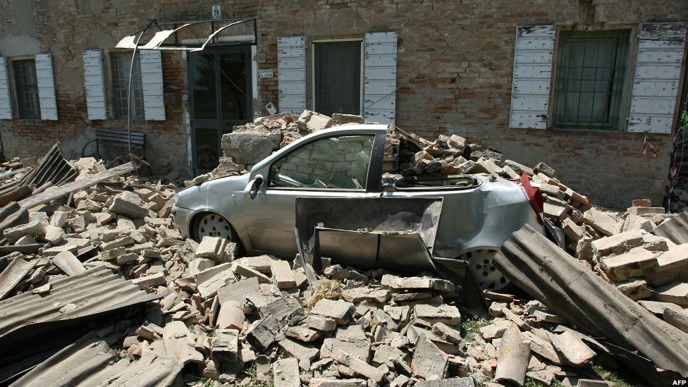 Efectos del sismo en Italia