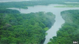 Vista aérea del lugar donde estaba Greytown, en Nicaragua