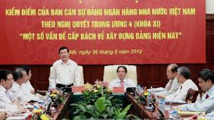 Chủ tịch nước Trương Tấn Sang tại buổi tự kiểm điểm của Ngân hàng Nhà nước Việt Nam. Ảnh: TTXVN