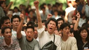 Protesto de trabalhadores (Foto: AP)