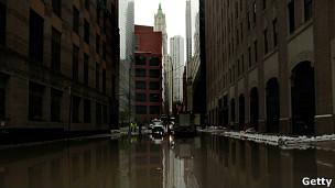Imagen de Manhattan, anegada por la tormenta Sandy