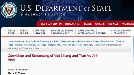 Thông cáo của Bộ Ngoại giao Mỹ về án tù với hai nhạc sĩ Việt Nam