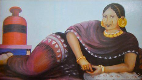 Novia sudanesa en los años 50, según pintura de Abdulaziz Farah