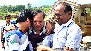Peregrinos rescatados por familiares en India