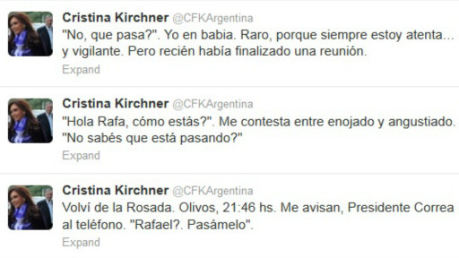 Twitter de Cristina Fernández
