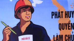 Một khẩu hiệu tuyên truyền của Đảng Cộng sản