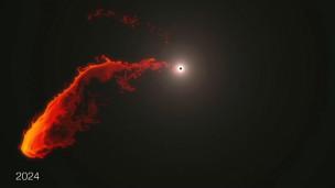Buraco negro engolindo nuvem de gás. Cortesia: ESO/MPE/M.Schartmann