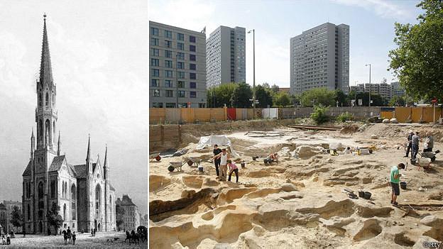 Iglesia de St Peter en 1850 y excavación de tumbas en 2008