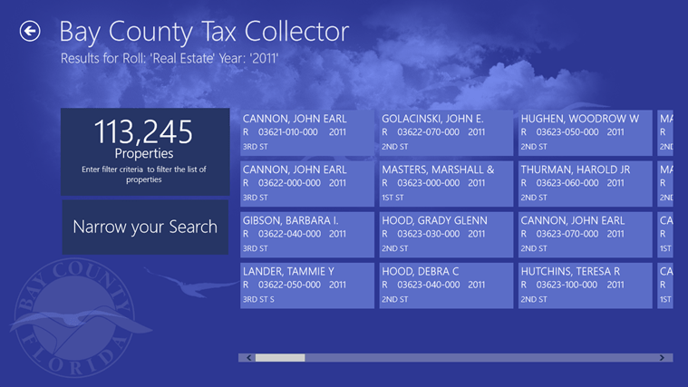 The initial listing of tax records for the current year.  The page shows the total for the criteria supplied.