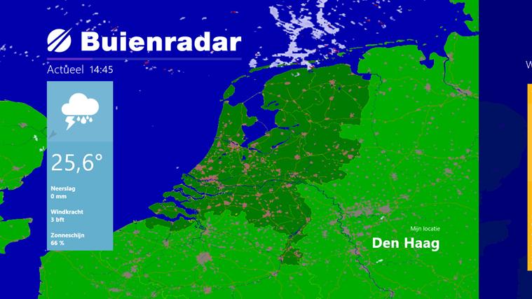 Bekijk het actuele radarbeeld om te zien waar het regent