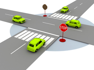 illustration of crossroads with yellow cars