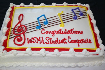 Audience members enjoyed cake and refreshments after Awards Presentation held on August 22 at the Wiscosnin Center for Music Education. WSMA also thanks Heid Music, Inc. for placing the Yamaha Grand Piano at the center for the Awards Reception.