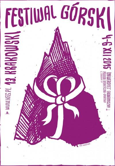 Plakat 13. Krakowskiego Festiwalu Górskiego, autorstwa Wojtka Kołka
