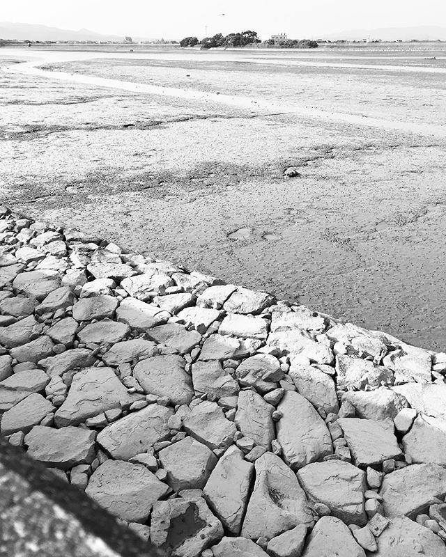 ひいてます。#イマソラ #mysky #sky #bw #tidal #tideland #seawall #干潟