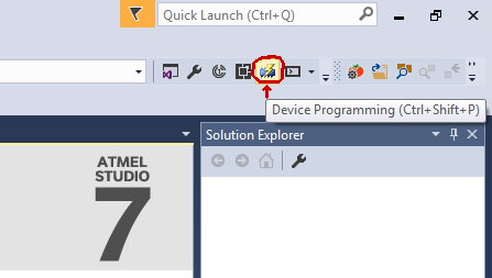 Atmel Studio Device Programming Button on Top Toolbar