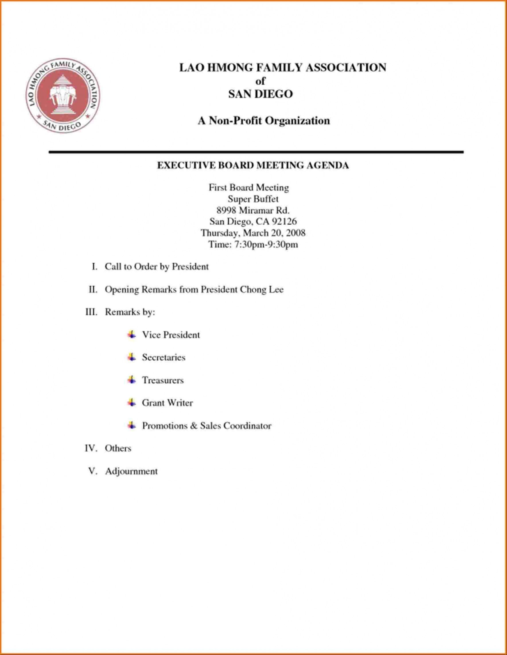 Additional business or supplements to the agenda. Board Meeting Agenda Template Non Profit