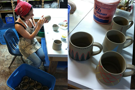Shannon applying surface decoration before the bisque firing