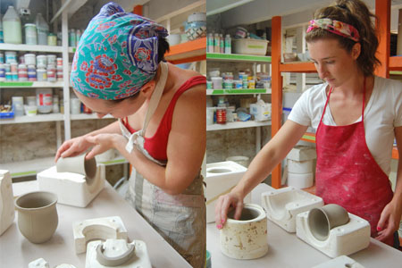 Shannon and Meghan casting some of their molds