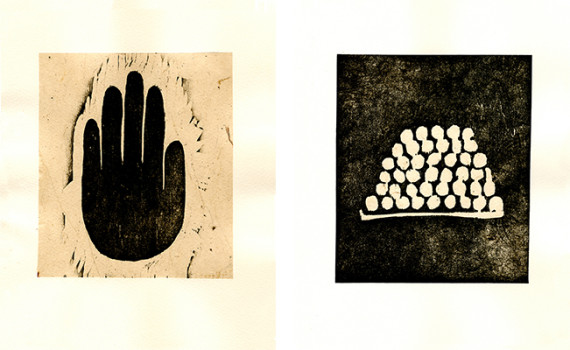 Zarina Hashmi, two prints from Ten Woodcuts Based on Urdu Proverbs, 1991.