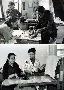 Top: Zarina shares her paper casting techniques in 1983. Bottom: Zarina prints TKTKTKT alongside Ann Kalmbach in 1991.
