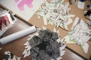 Cheryl Paswater's shapes in the silkscreen studio