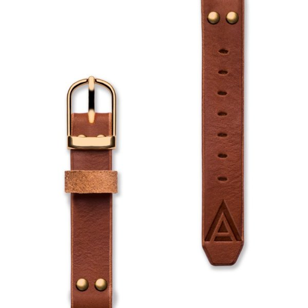 Handmade Leather Watch Straps 'No. 1929' Tan / Gold Complete View
