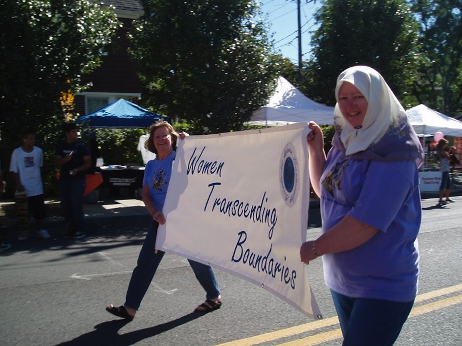 Marching in the parade at the Westcott Street Fair