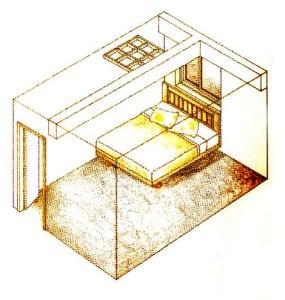 不可有樑柱橫壓或直壓在床的上方;樓梯也不好;床的上方最好是什麼都不要有。床位不要對門,因為最初入門的氣,尚未迂迴,太強的氣,對人會產生傷害。p1112-a1-01