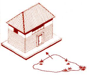 圖為房屋正門外,若有大樹或土堆對著,這是反弓的一種,不吉祥p1151-a1-02
