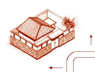 圖為屋外有水或路,突然在門前曲折反弓,是十分兇煞的格局p1151-a1-04