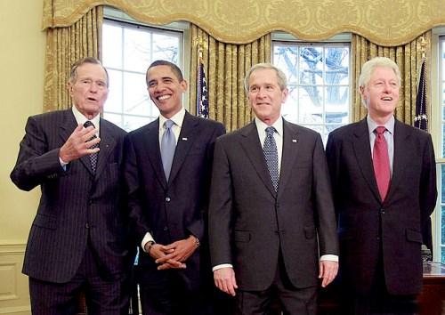 老布希 歐巴馬 小布希 柯林頓  (Photo by Mark Wilson/Getty Images) P1157-a1-06