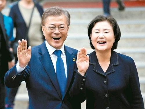 南韓總統文在寅與妻子金正淑 p1160-a1-08