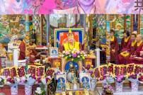 2017年6月4日下午,美國西雅圖彩虹雷藏寺恭請無上法王根本上師蓮生活佛盧勝彥主壇「吽音度母護摩大法會」,嘉賓齊聚。圖為蓮生法王開示幽默風趣。