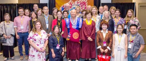 師尊、師母與盧勝彥佈施基金會董事們及合作夥伴合影