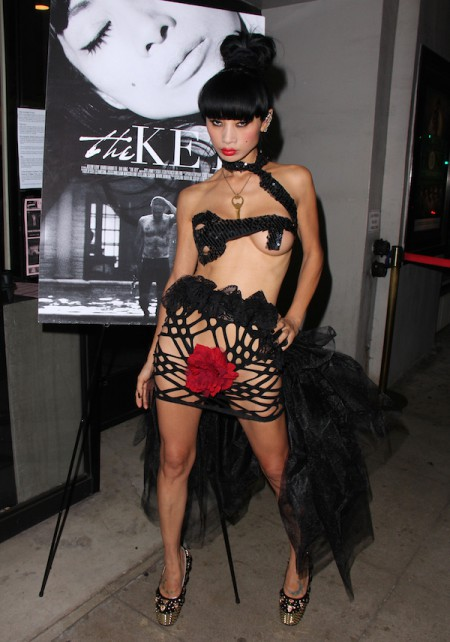 Bai Ling wears a barely there mesh outfit, appears with David Arquette at The Real Experimental Film Festival