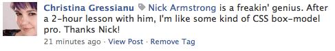 Christina Gressianu on Nick Armstrong