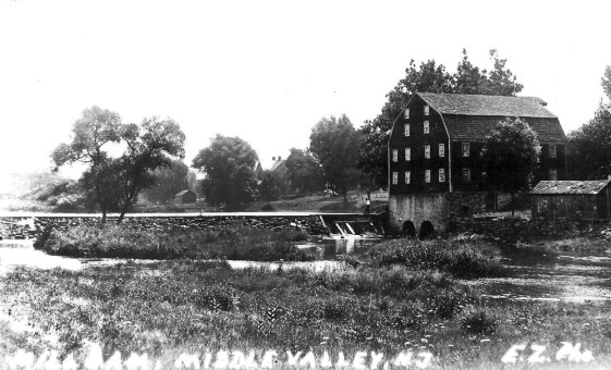 The South Branch of the Raritan River supplied the waterpower to this mill until the milldam broke from ice buildup in 1917. Ice was harvested from the pond and stored in mattings of straw and sawdust until summer.