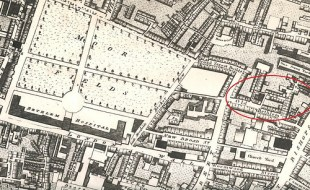 Bethlem site on Bishopsgate (n.d) (the circle is where dead bodies have been recently found through the building of Crossrail)