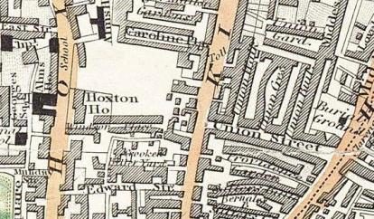 Greenwood's map 1830 showing the old site of Hoxton House