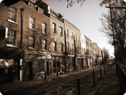 Victorian Terrace. Cannon Street Road, looking south to The Highway from junction with Cable Street. 2016.