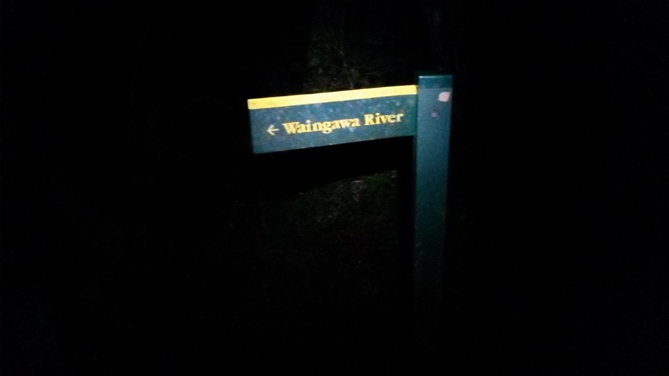 Waingawa River sign at night time
