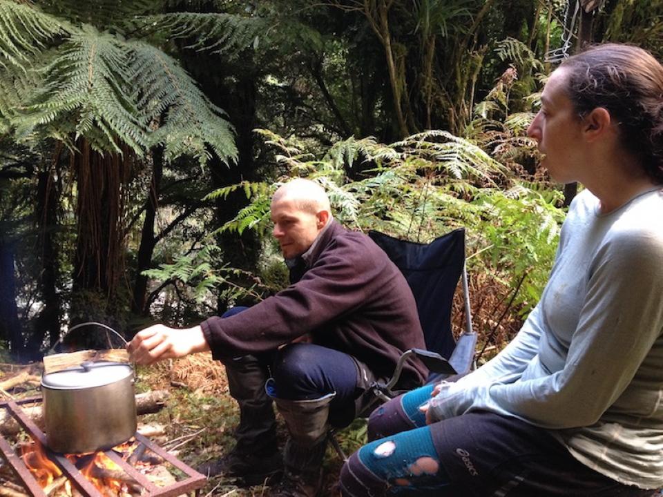 Pot over a stove at Jacs Flat Bivvy