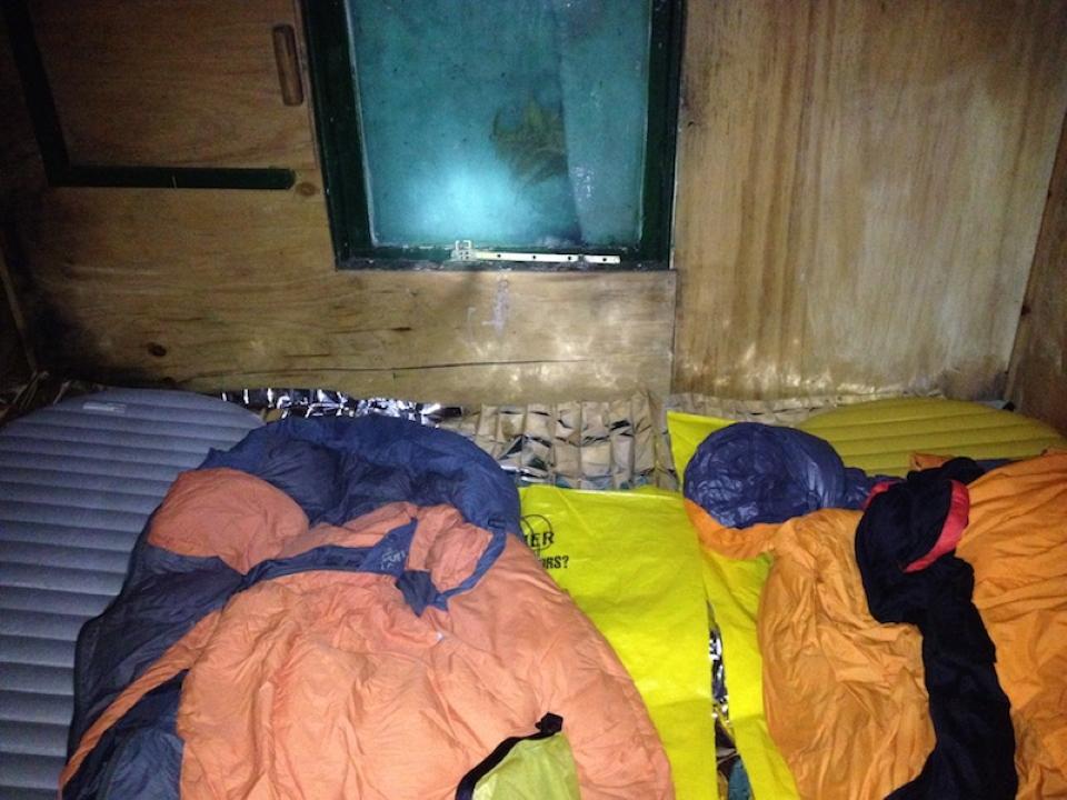 Bedding set up inside Jacs Flat Bivvy