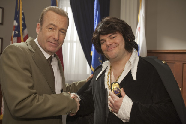 """Bob Odenkirk (left) as Nixon and Jack Black as Elvis in the first episode of """"Drunk History."""" The Comedy Central show will film at Mothers Grille 8 p.m. Thursday."""