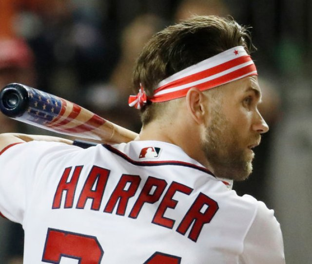 Washington Nationals Bryce Harper  Waits For His Pitch During The Mlb Home Run Derby At Nationals Park Monday July   In Washington