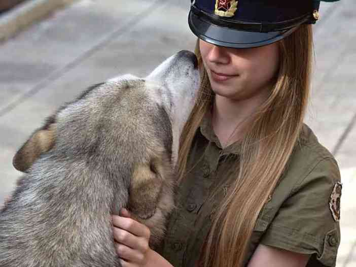 Cute girl police with dog whatsapp profile picture