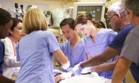 NHS Doctors operating in a UK hospital